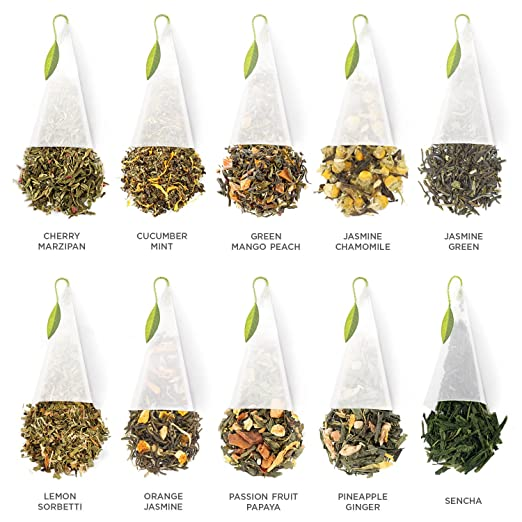 Tea Forté Tea Chest Green Tea Assortment with 40 Handcrafted Pyramid Tea Infusers - Green Mango Peach, Jasmine Chamomile, Lemon Sorbetti.