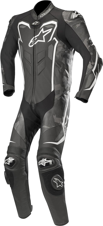 Alpinestars GP Plus Camo - Mono de cuero de 1 pieza, color negro y blanco, talla 56