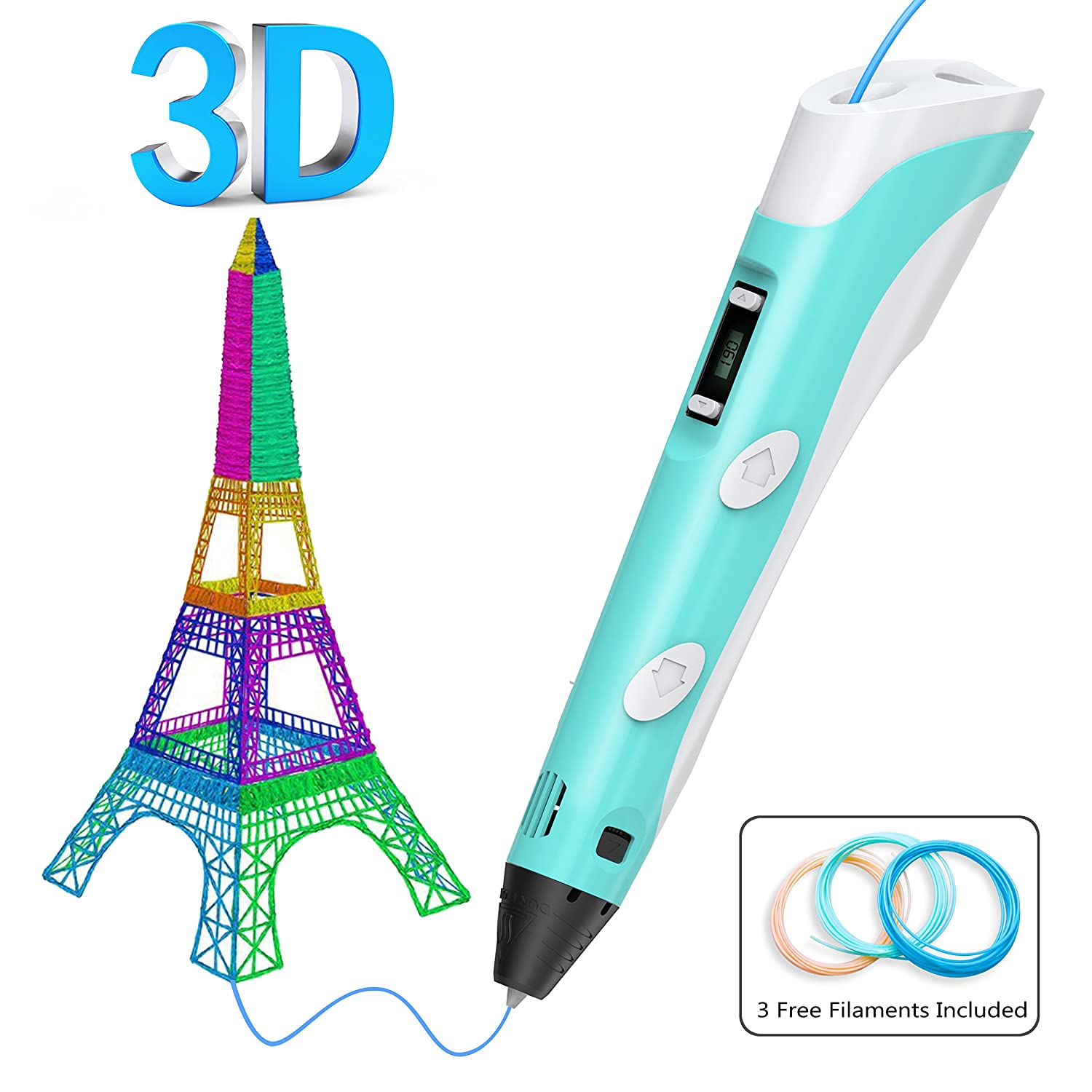 3D Printing Pen, Gvoo Upgraded Intelligent 3D Drawing Pen with LED Display Compatible with 1.75mm PLA/ABS Filament