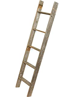 barnwoodusa rustic 5 foot decorative ladder 100 reclaimed wood weathered gray