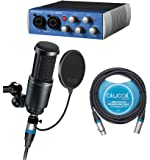 Audio-Technica AT2020 Cardioid Condenser Microphone with Presonus AudioBox USB 96 2x2 USB Audio Interface, Studio One Recording Software, Blucoil Pop Filter AND 10' XLR Cable