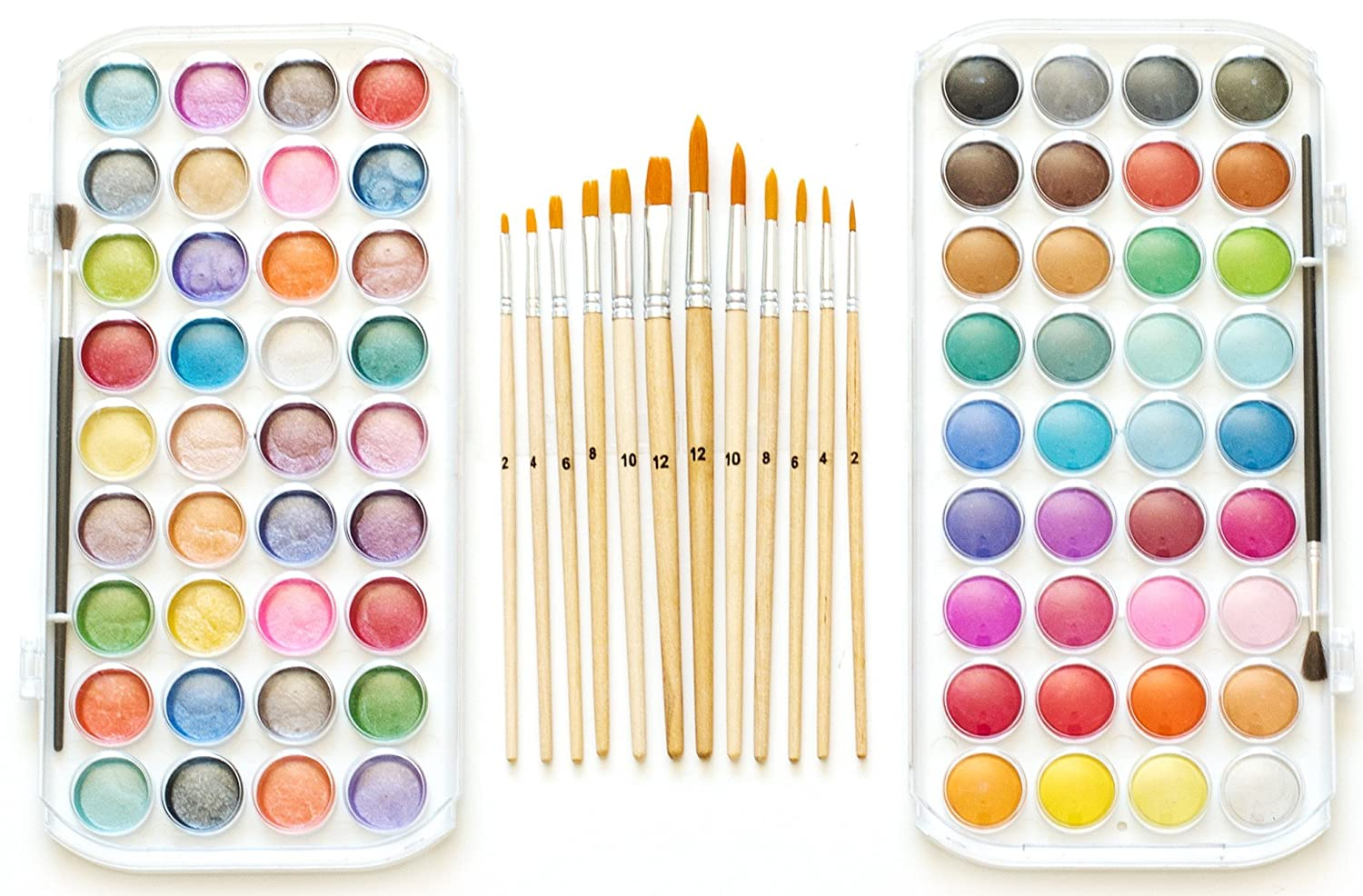 EconoArts Watercolor Paint Set, 72 Opaque Colors (Gouache) - Normal and Pearlescent, 6 Flat, 6 Round, and 2 Basic Brushes FEQM 4336952670