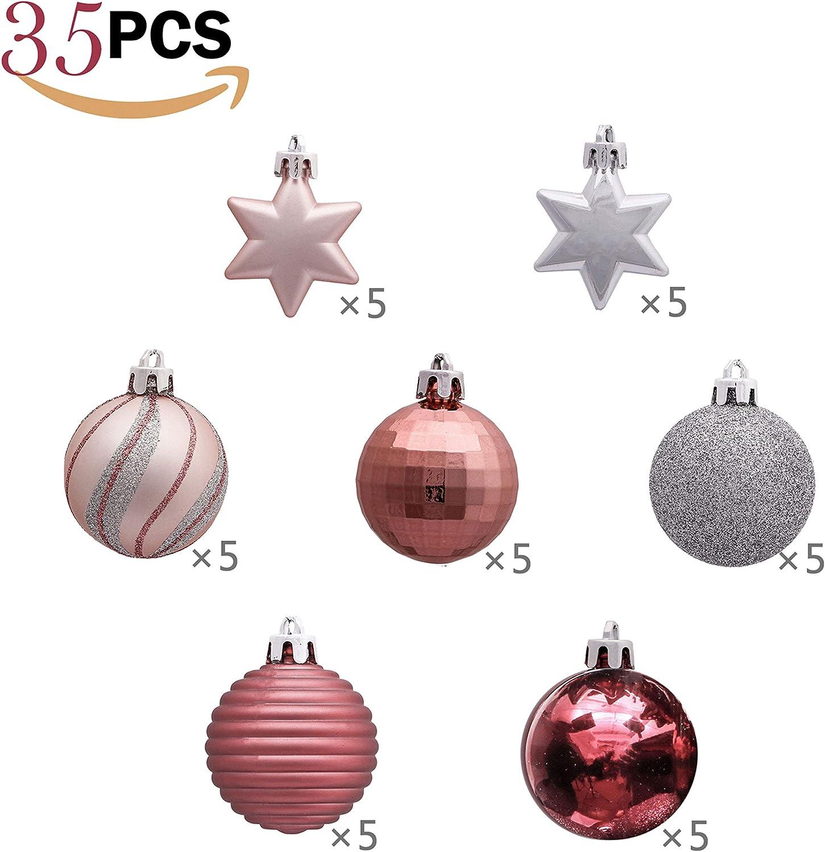 Victors Workshop 35Pcs Bolas de Navidad de 5cm Garapi/ñado Regalos de Colgantes de Navidad Decoraci/ón de Bolas Navide/ños Inastillable Pl/ástico de Rosa y P/úrpura Adornos de Navidad para Arbol
