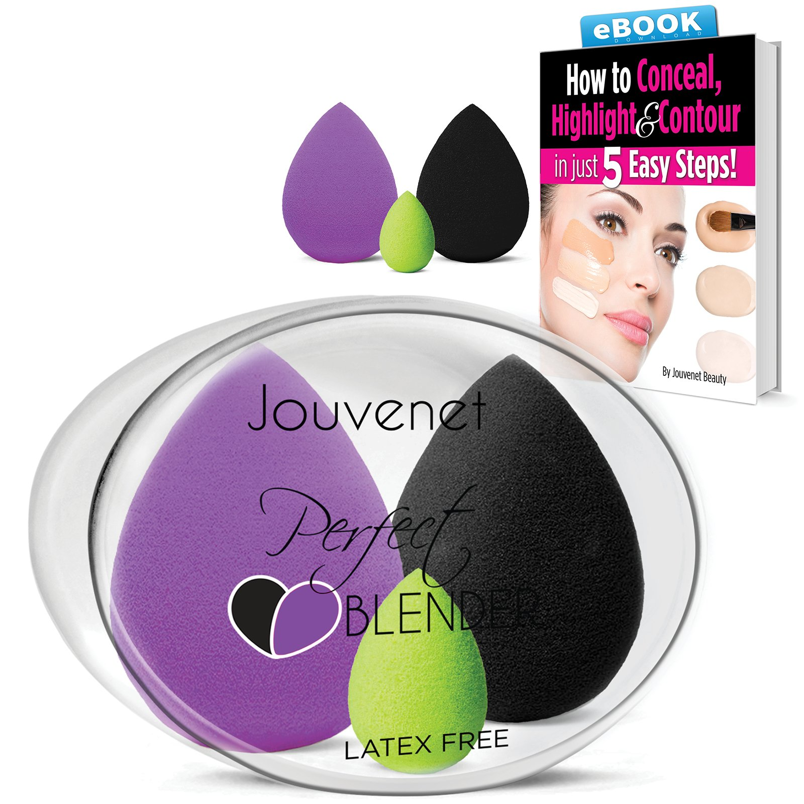amazon com   2 pc jouvenet makeup sponges  2 latex