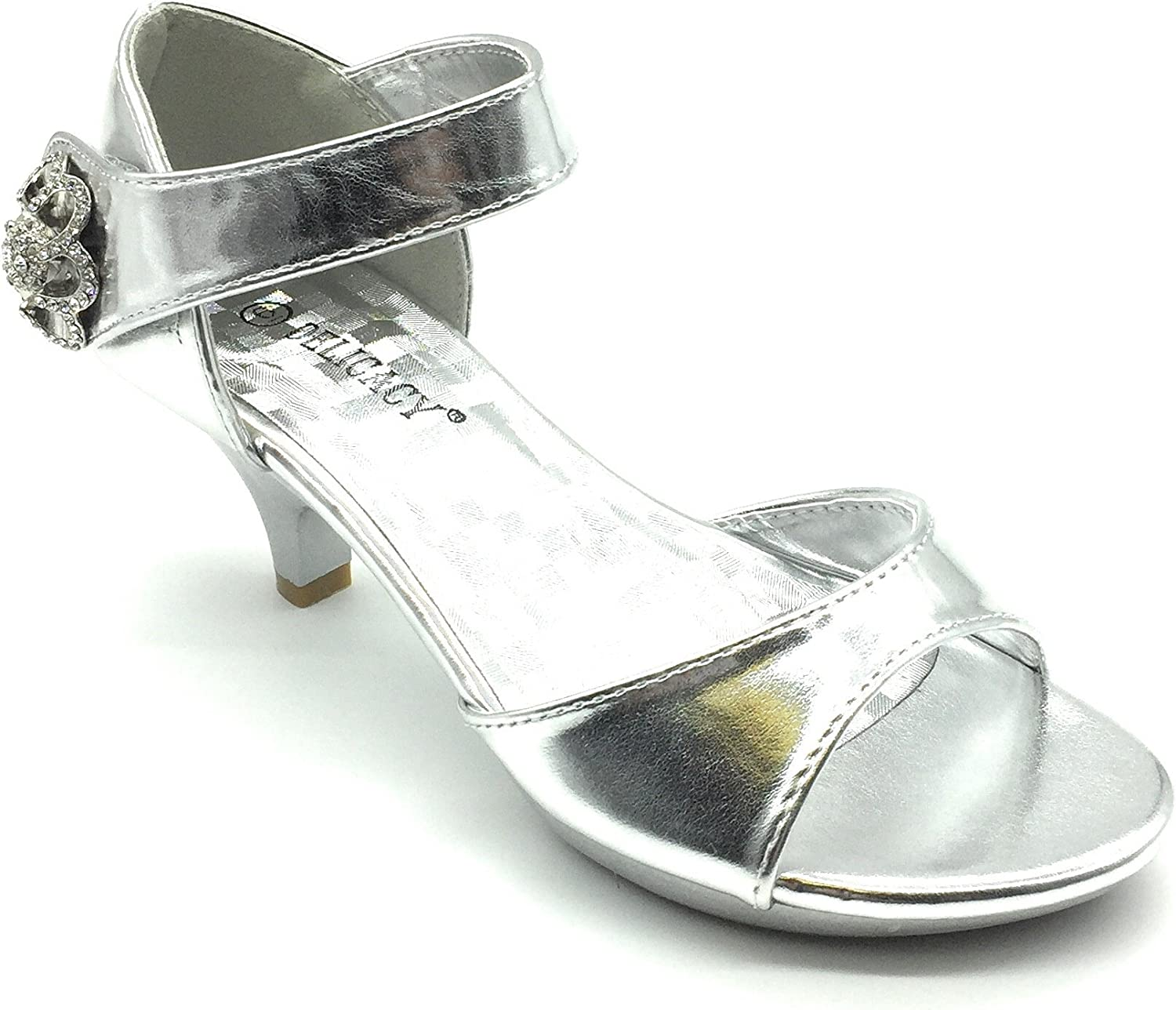 ShoeShoe Angel Collection Womens Strappy Rhinestone Prom Dress Party  Evening Wedding Sandal Low Heel Shoes, Silver 8.5