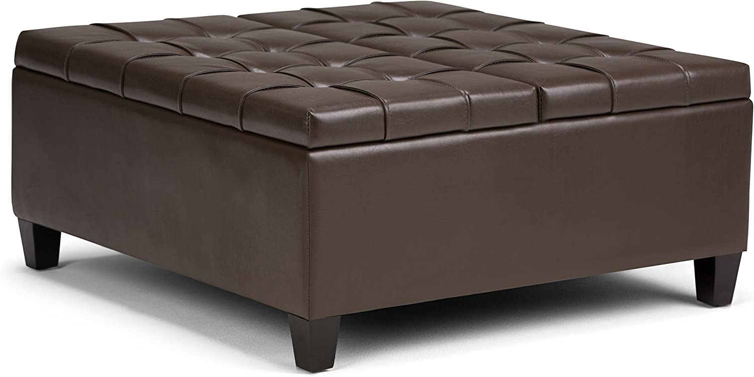 Simpli Home AXCOT-265-CBR Harrison 36 inch Wide Traditional Square Storage Ottoman in Chocolate Brown Faux Leather