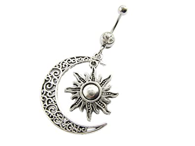 Moon And Sun Belly Button Ring Navel Ring Belly Button Jewelry Body Jewelry Celestial Belly Ring