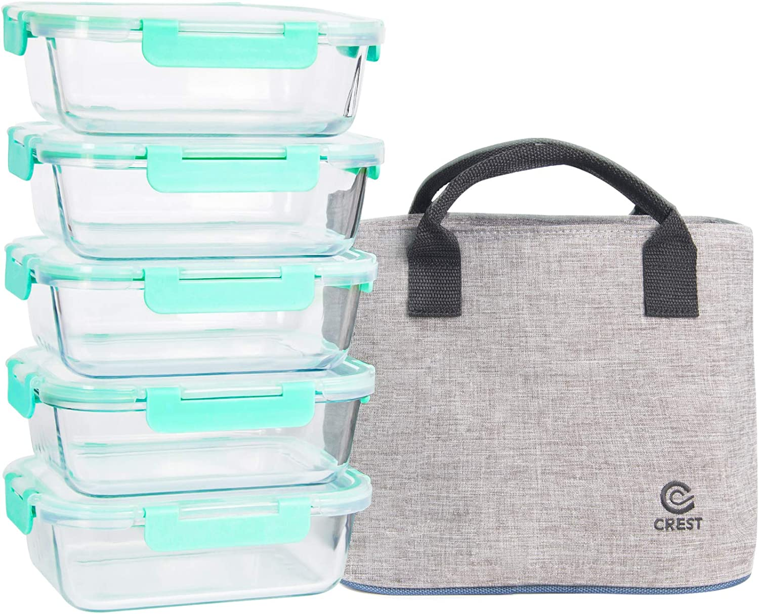 [5-Pack,34Oz] Glass Containers with Locking Lids for Meal Prepping - Food Storage Containers with Insulated Lunch Bag for Women