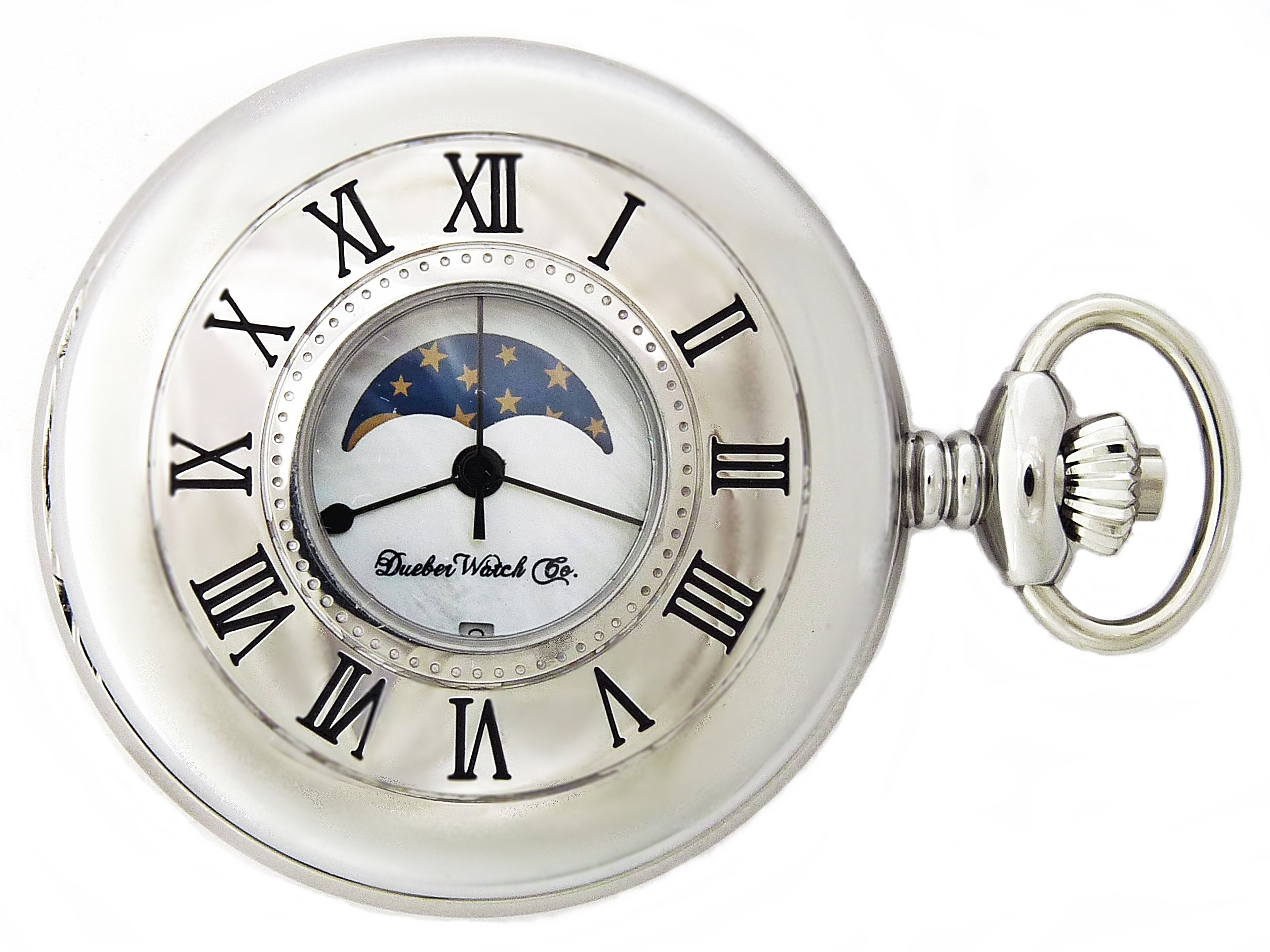 Dueber Moon Phase Pocket Watch with Swiss Movement & Mother of Pearl Dial by Dueber Watch Co (Image #2)