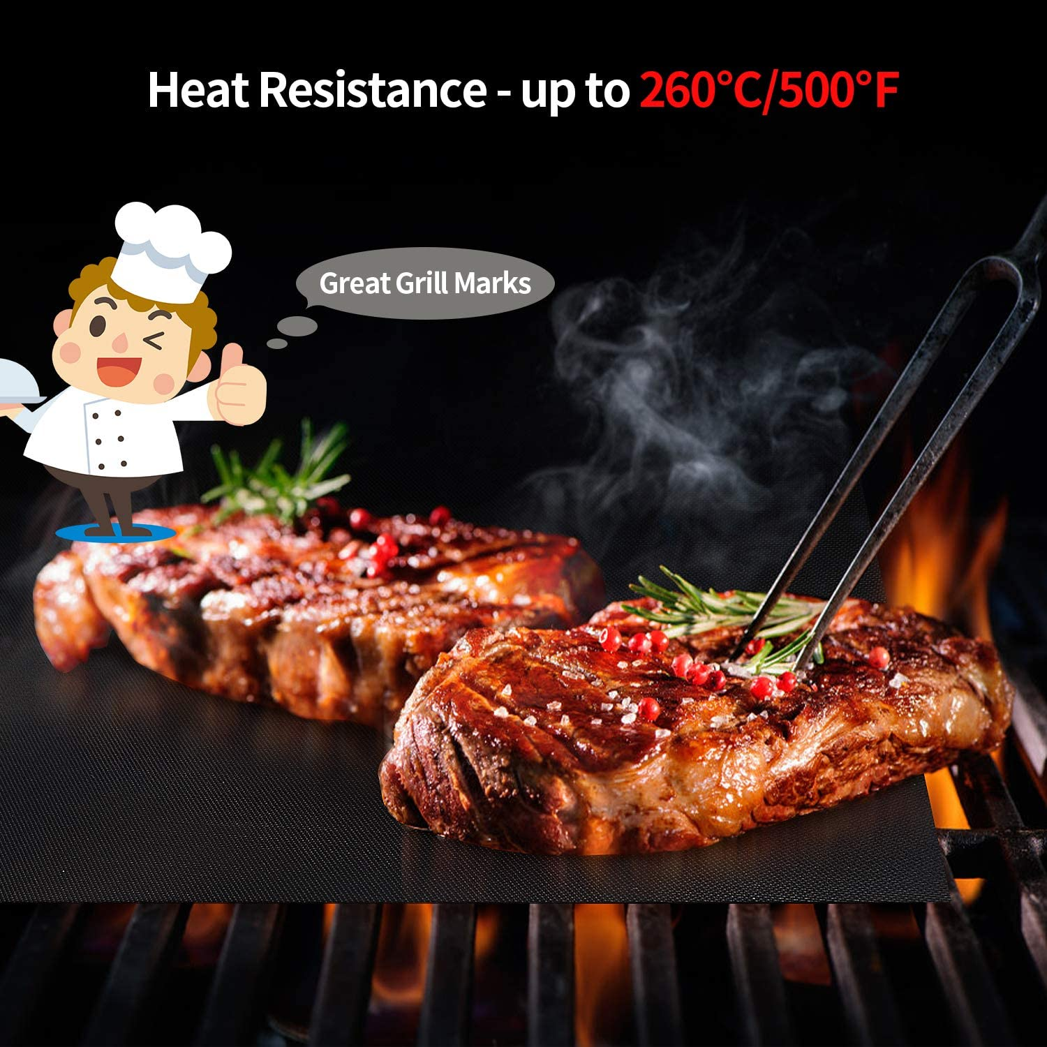 Set of 3 Non Stick Reusable Barbecue Baking Mats Teflon Cooking Mats FDA-Certificated for Indoor Outdoor BBQ Works on Charcoal Gas Electric Grill Sheets 50x40CM Karvipark BBQ Grill Mat