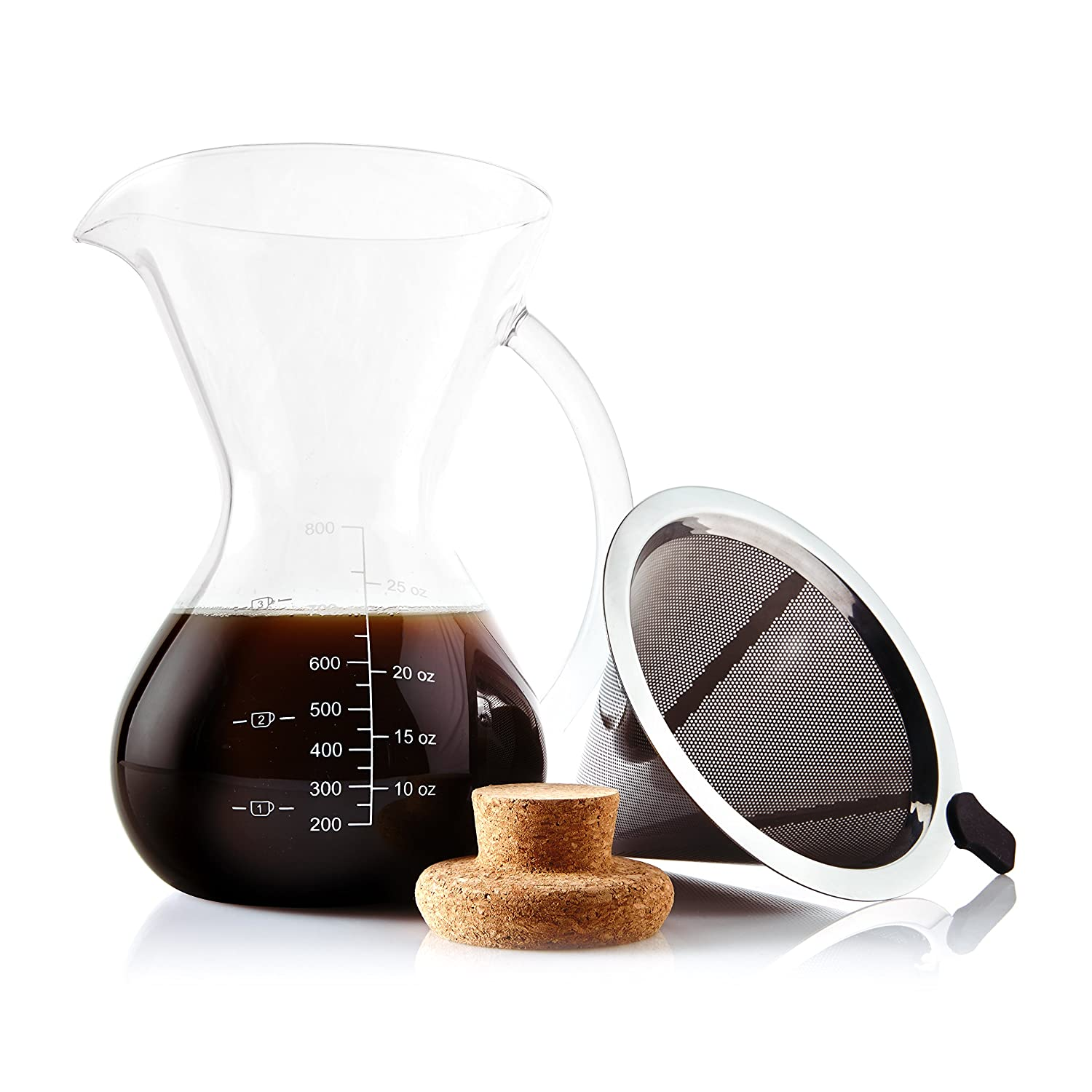 Apace Living Pour Over Coffee Maker Set w/Coffee Scoop and Cork Lid - Elegant Coffee Dripper Pot w/Glass Carafe & Permanent Stainless Steel Filter (800 ml / 27 oz)