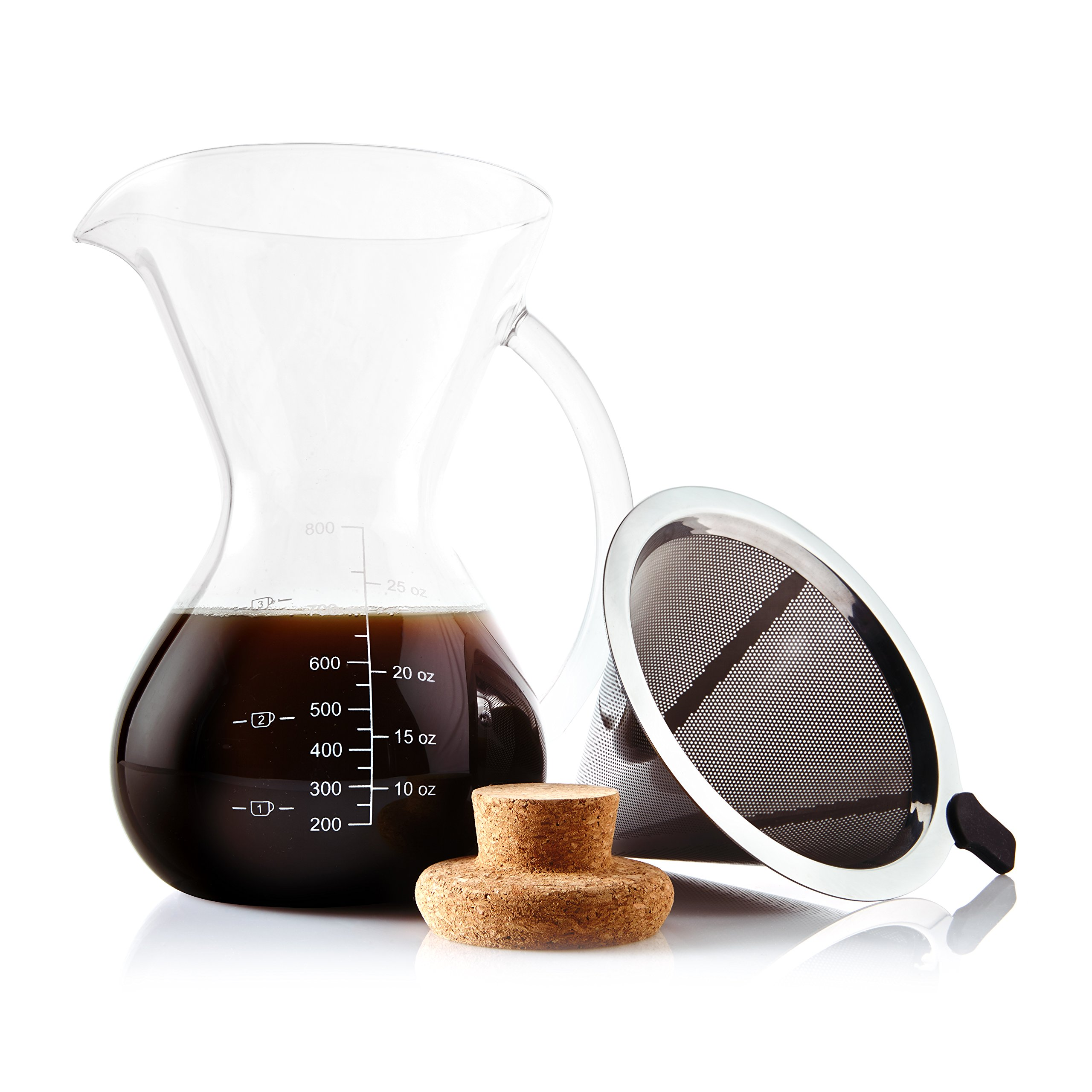 Apace Living Pour Over Coffee Maker Set w/Coffee Scoop and Cork Lid - Elegant Coffee Dripper Pot w/Glass Carafe & Permanent Stainless Steel Filter (800 ml/27 oz)