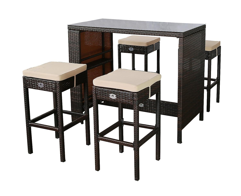 Gartenfreude Polyrattan Sitztheke mit 4 Hockern, Glasplatte 133 x 68 x 111cm, Hocker 42 x 42 x 75 cm, bicolor braun
