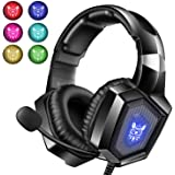 Gaming Headset with Mic for PS4 Xbox one PC PS5, Stereo RGB Gaming Headphones with Noise Cancelling Microphone, Wired Over Ea