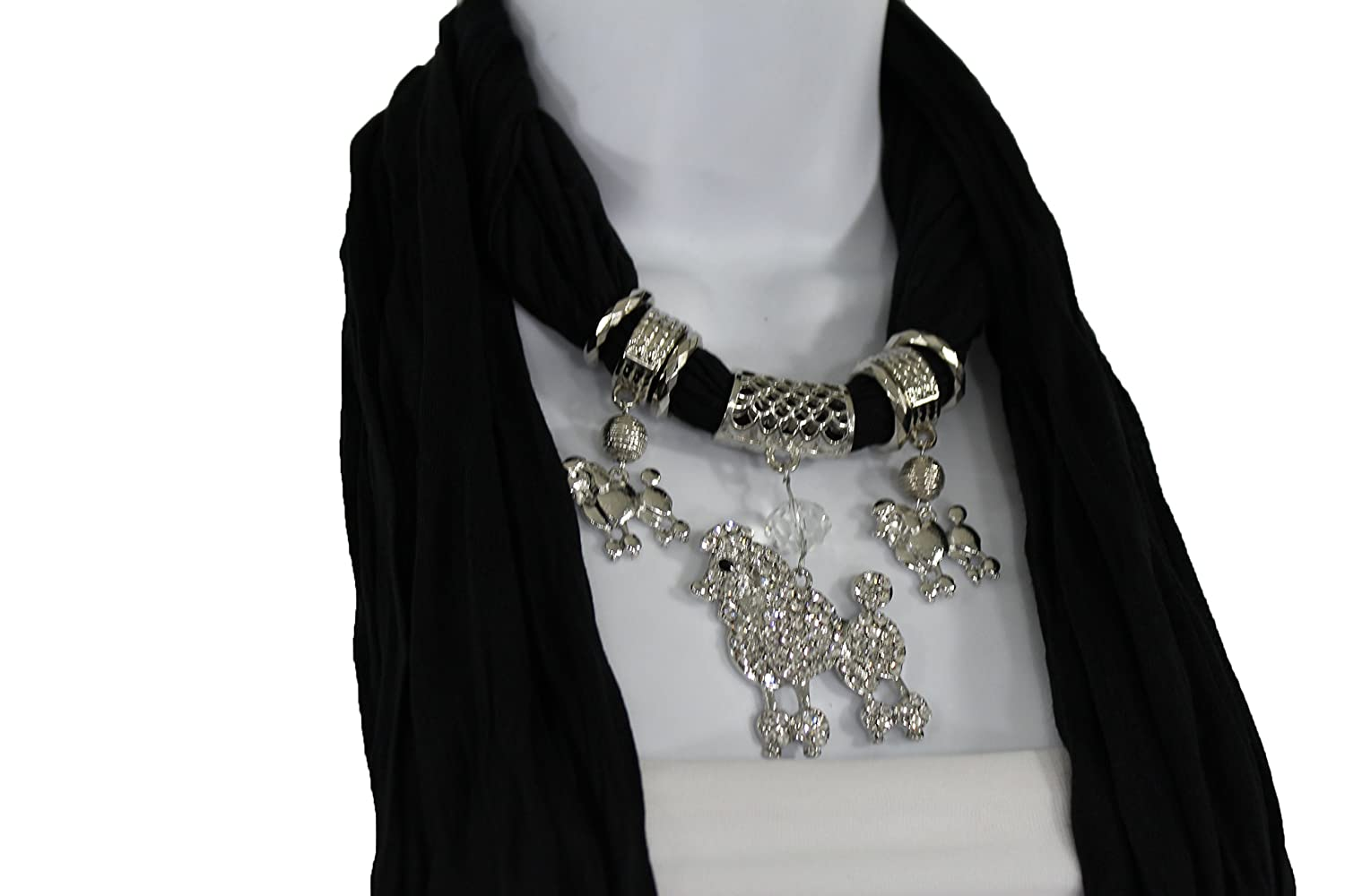 TFJ Women Fashion Scarf Necklace Soft Fabric Big Silver Metal Poodle Dog Charm Pendant