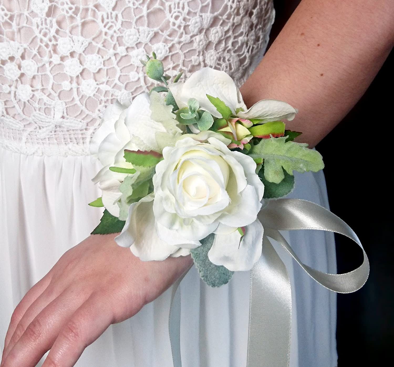 Amazon Best Quality Elegant Wedding Wrist Corsage Silk Flowers