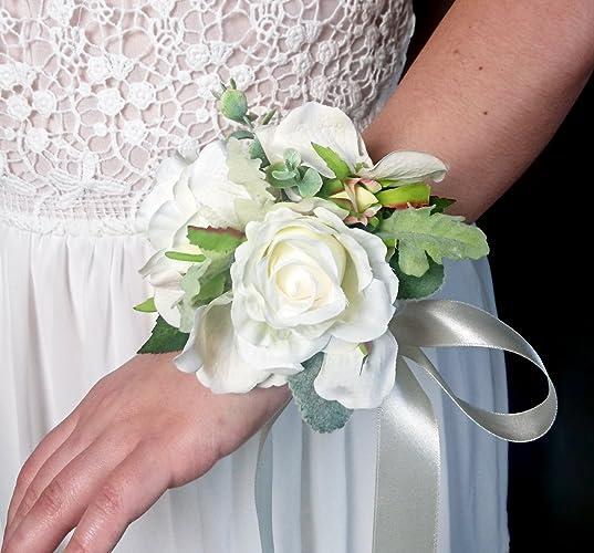 Amazon best quality elegant wedding wrist corsage silk flowers best quality elegant wedding wrist corsage silk flowers cream greenery classic bridesmaid mightylinksfo