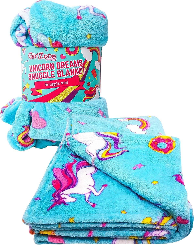 GirlZone: Unicorn Fleece Blanket Throw Blanket for Girls, Room Decor