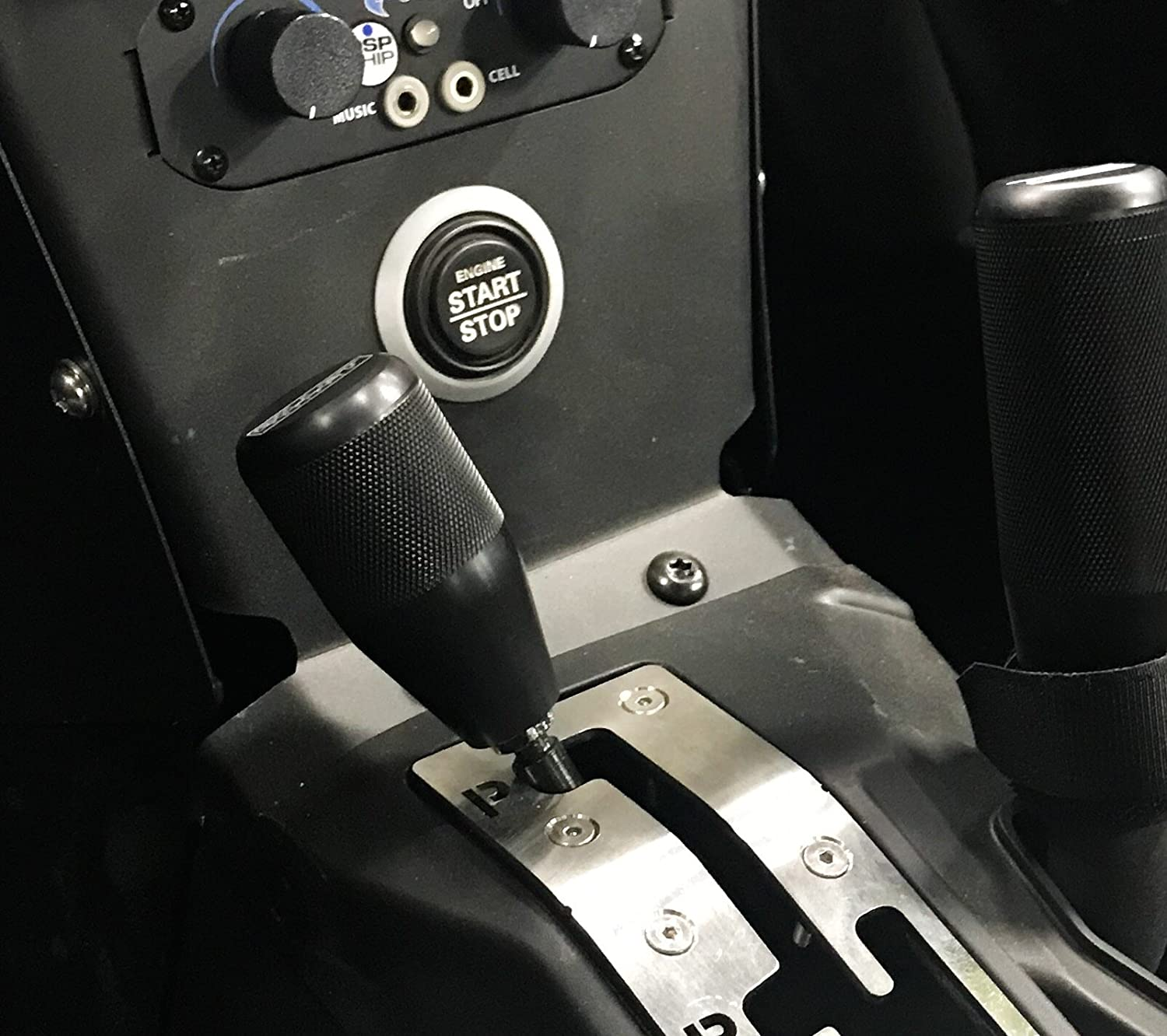Billet Equipped Can Am Maverick X3 Aluminum Shifter Knob - Knurled with Black Anodize Finish Billet Equipped UTV