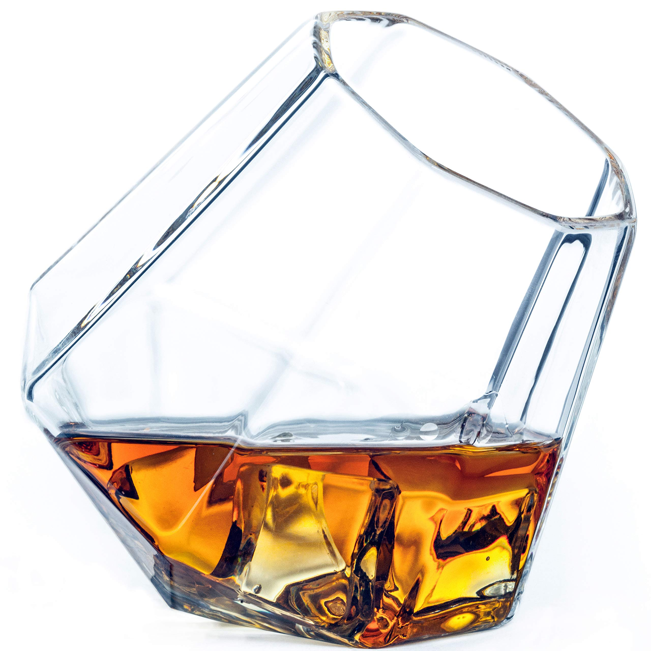 Diamond Whiskey Glasses, 10-Ounce Tilted Tumblers, Gift Boxed - Set of 2