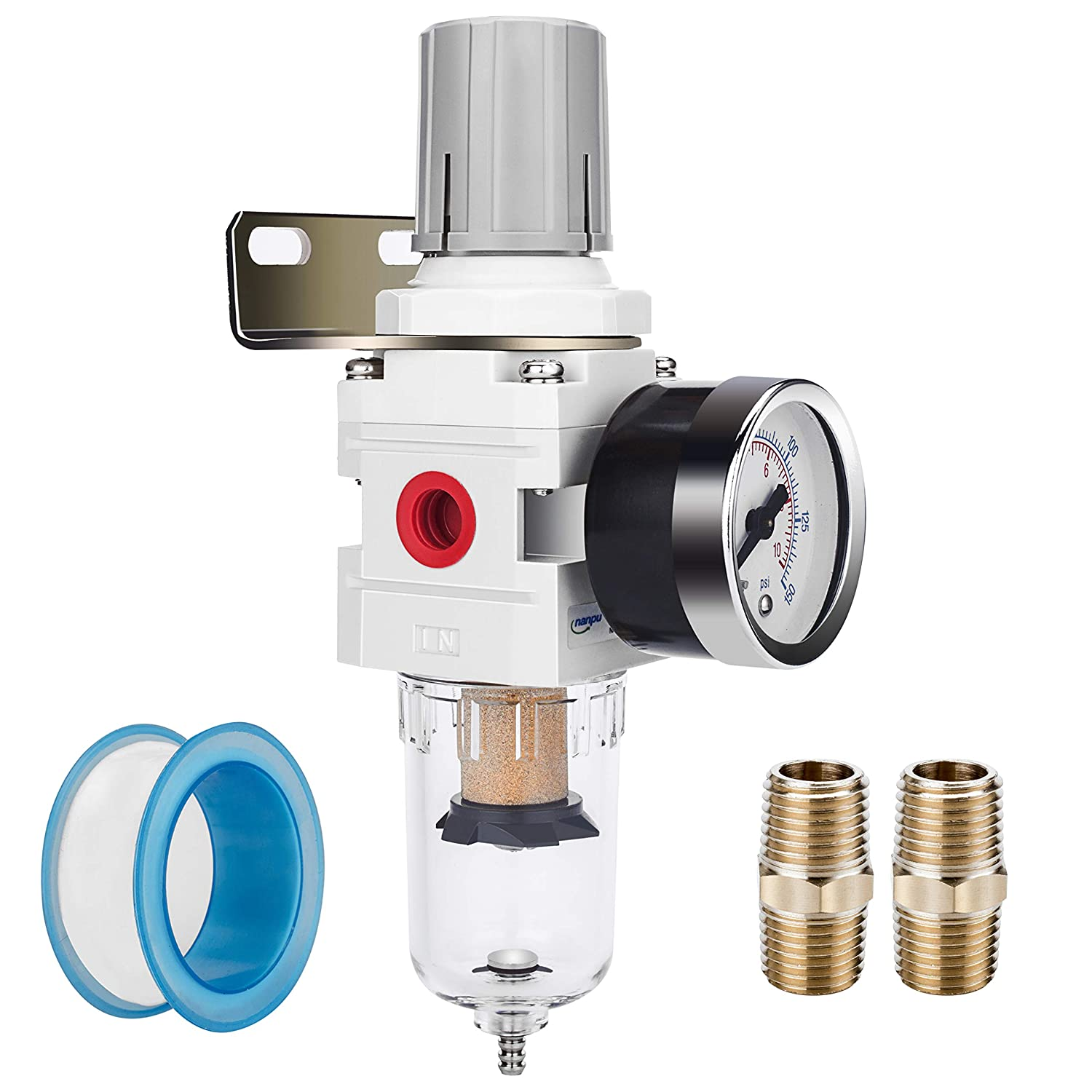 "NANPU 1/4"" NPT Compressed Air Filter Regulator Combo Piggyback, 5 Micron Element, Poly Bowl, Semi-Auto Drain, Bracket, 0-150 psi Gauge (AW2000-02)"