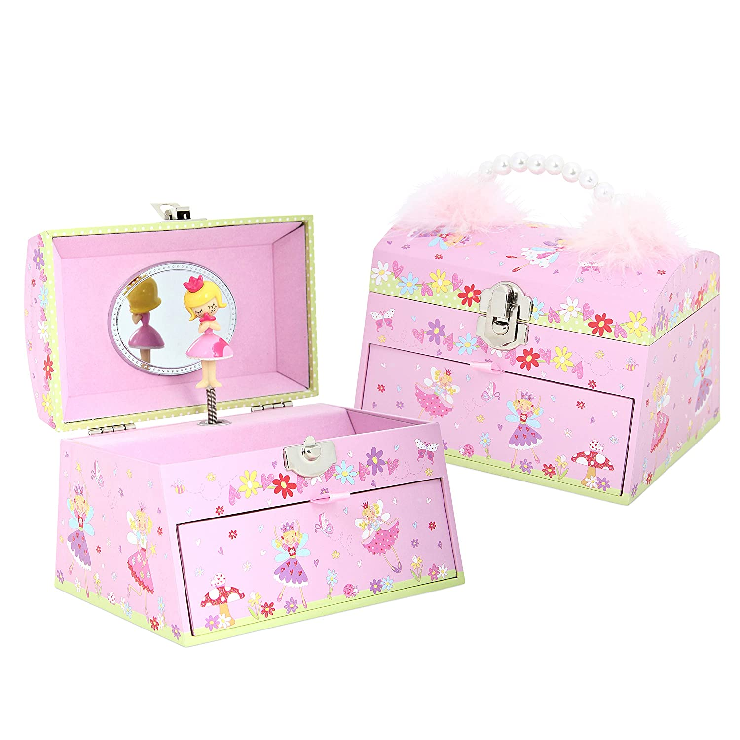 Lucy Locket Fairy Tale Kids Musical Jewellery Box - Pink Glittery Kids Music Box with Bead Carry Handle BD/2624