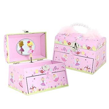 Caja de Música de Hadas rosa con asa para transportarla - Joyero musical para niñas -