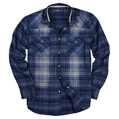 866be456 Urban Boundaries Mens Western Pearl Snap Long Sleeve Cowboy Shirts (Indigo,  Modern Fit: