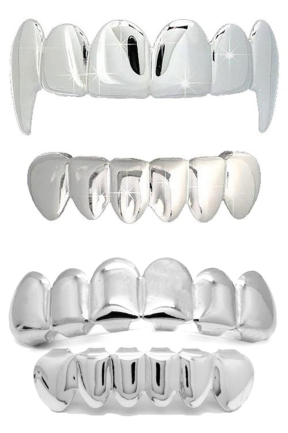 NewAgeBling Fangs & Plain Grillz 4 pc Combo Set Silver Plated Top Bottom Teeth Mouth Grills w/Molds - 332-325