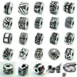 Ten Antique Silver Clip Lock Bead Charms with