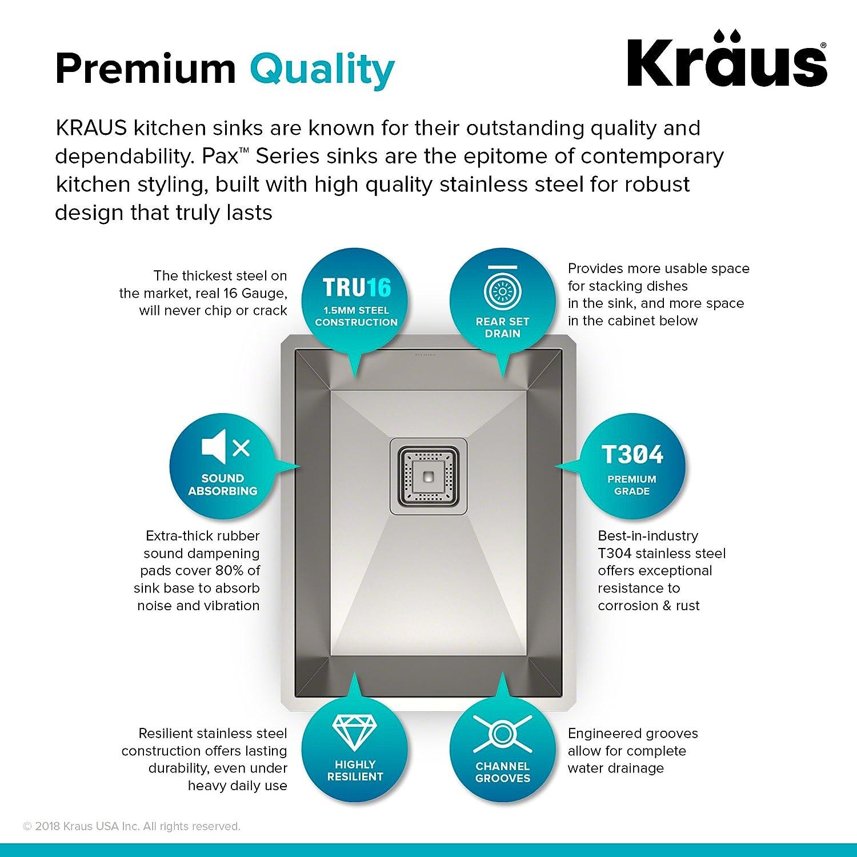 Kraus KHU15 Pax Zero-Radius 14 1/2 18 Gauge Handmade Undermount ...
