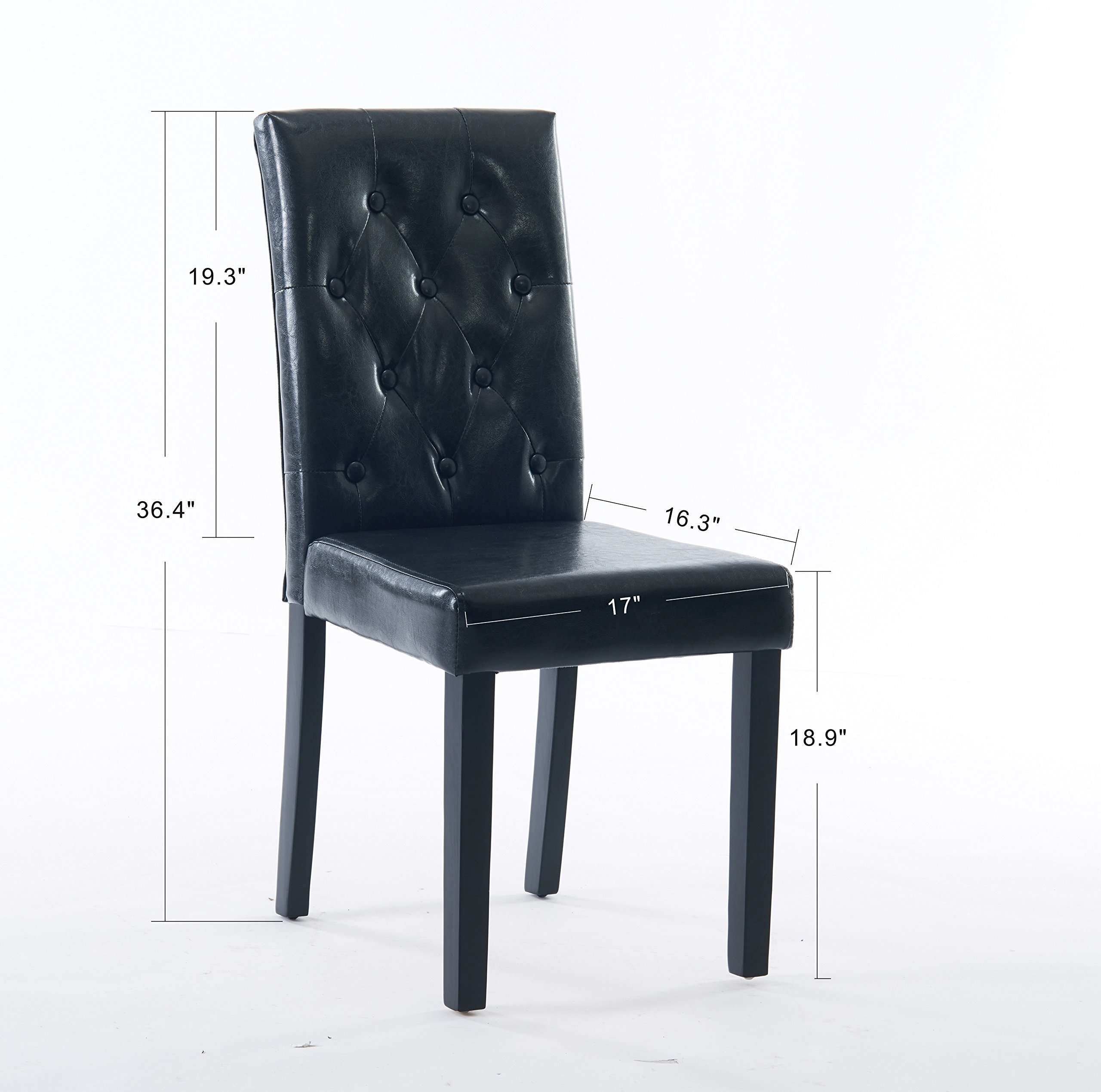 Comfortable Live New Modern Style Dining Chair in Home and Garden with Leather Set of 2(black) by Comfortable live (Image #2)