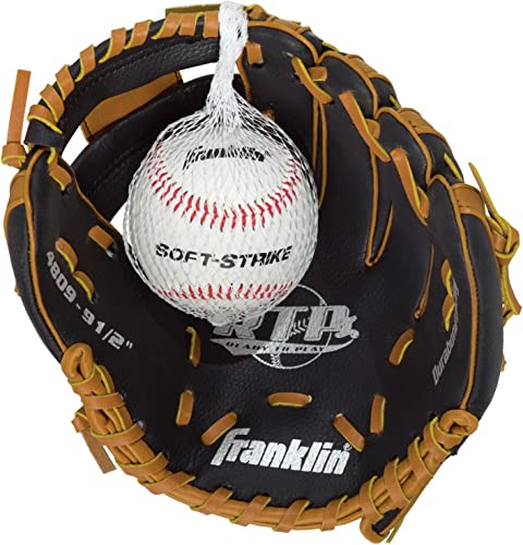 Franklin Sports Black Tan Baseball Glove with Ball