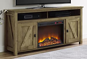 """Ameriwood Home Farmington Electric Fireplace TV Console for TVs up to 60"""", Natural"""