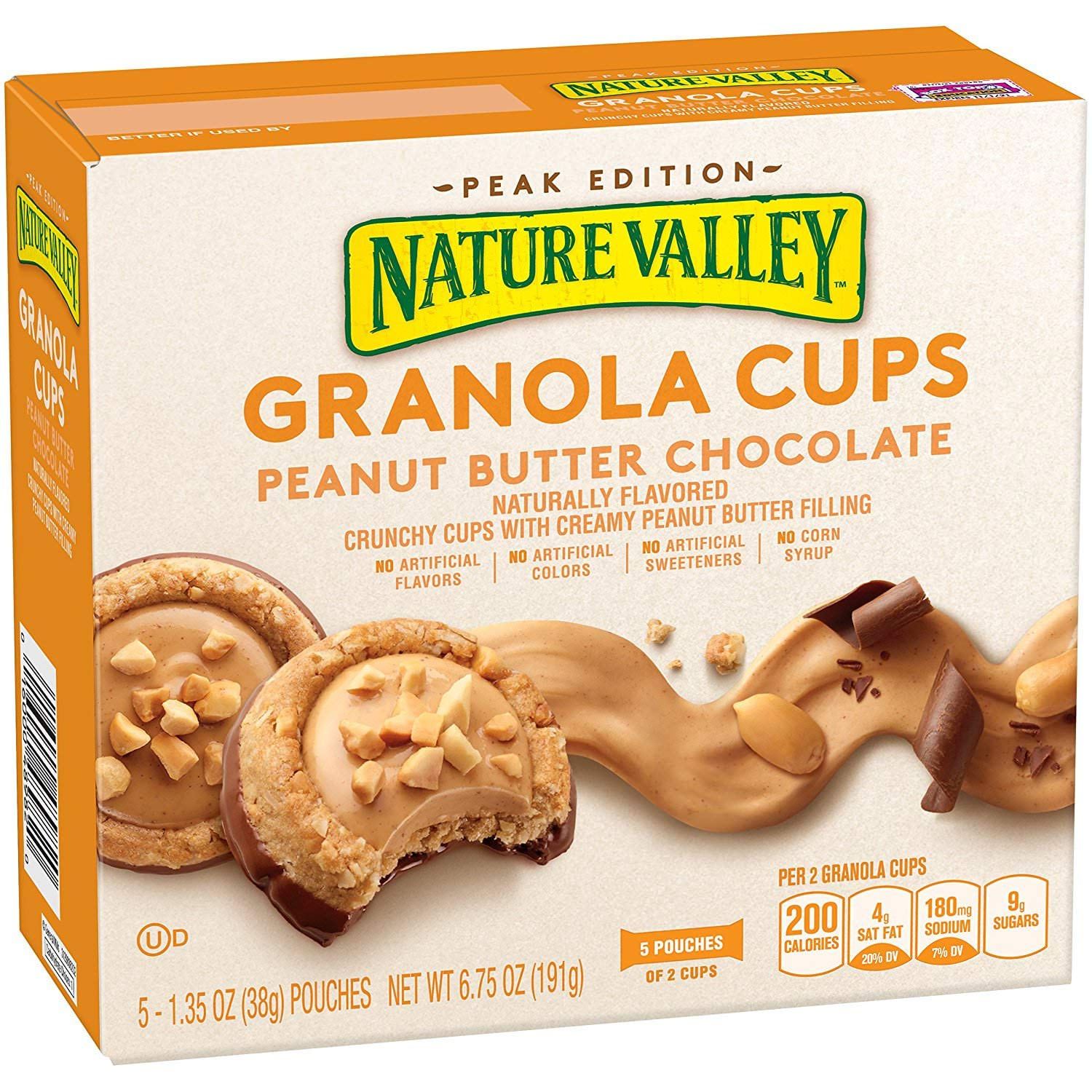 Nature Valley Peak Edition Granola Cups, Peanut Butter, 1.35 Oz, 5 Bars (6 Boxes)