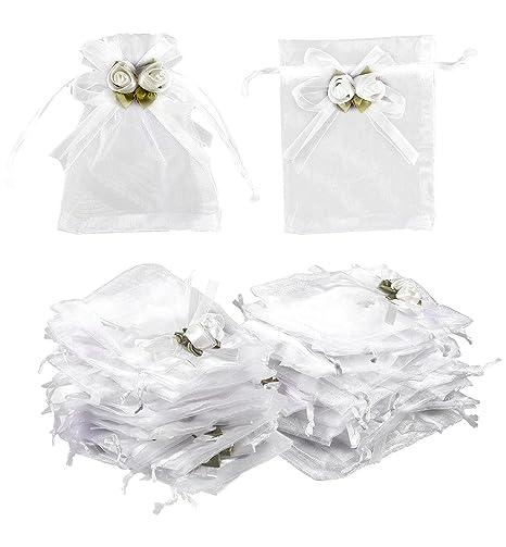 e141a150a Bolsa de joyería con cordón – 100 bolsas de regalo de organza para joyas,  bodas