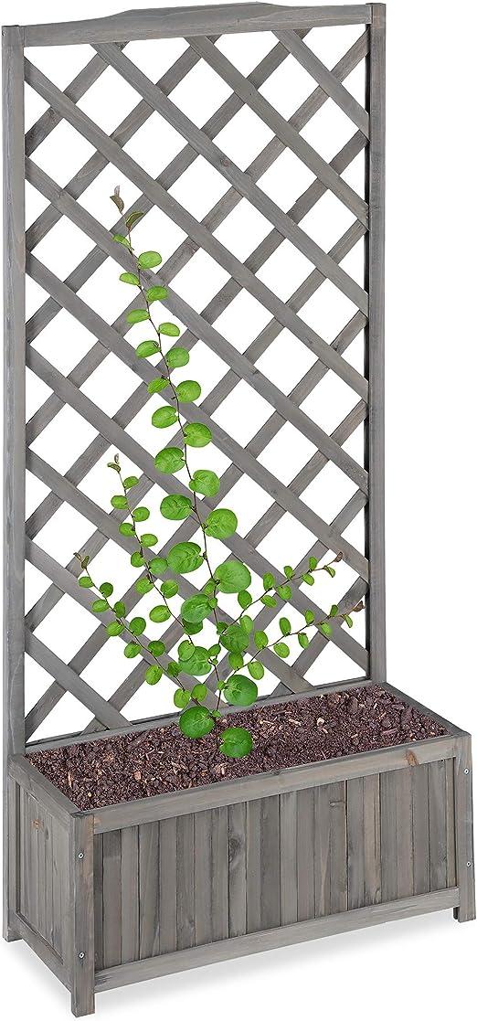 Relaxdays Enrejado de jardín con macetero, Madera de Abeto, 35 L, 150 cm, Gris, XL: Amazon.es: Jardín