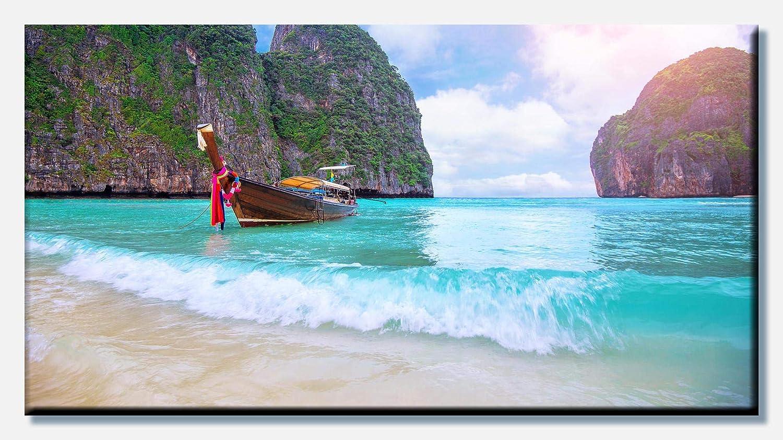 wandmotiv24 Cuadro en Lienzo Barca in Phi Phi Island, Tailandia 80x40cm (Ancho x Alto) Foto panorámica Foto Lienzo Mural Foto Regalos M0856