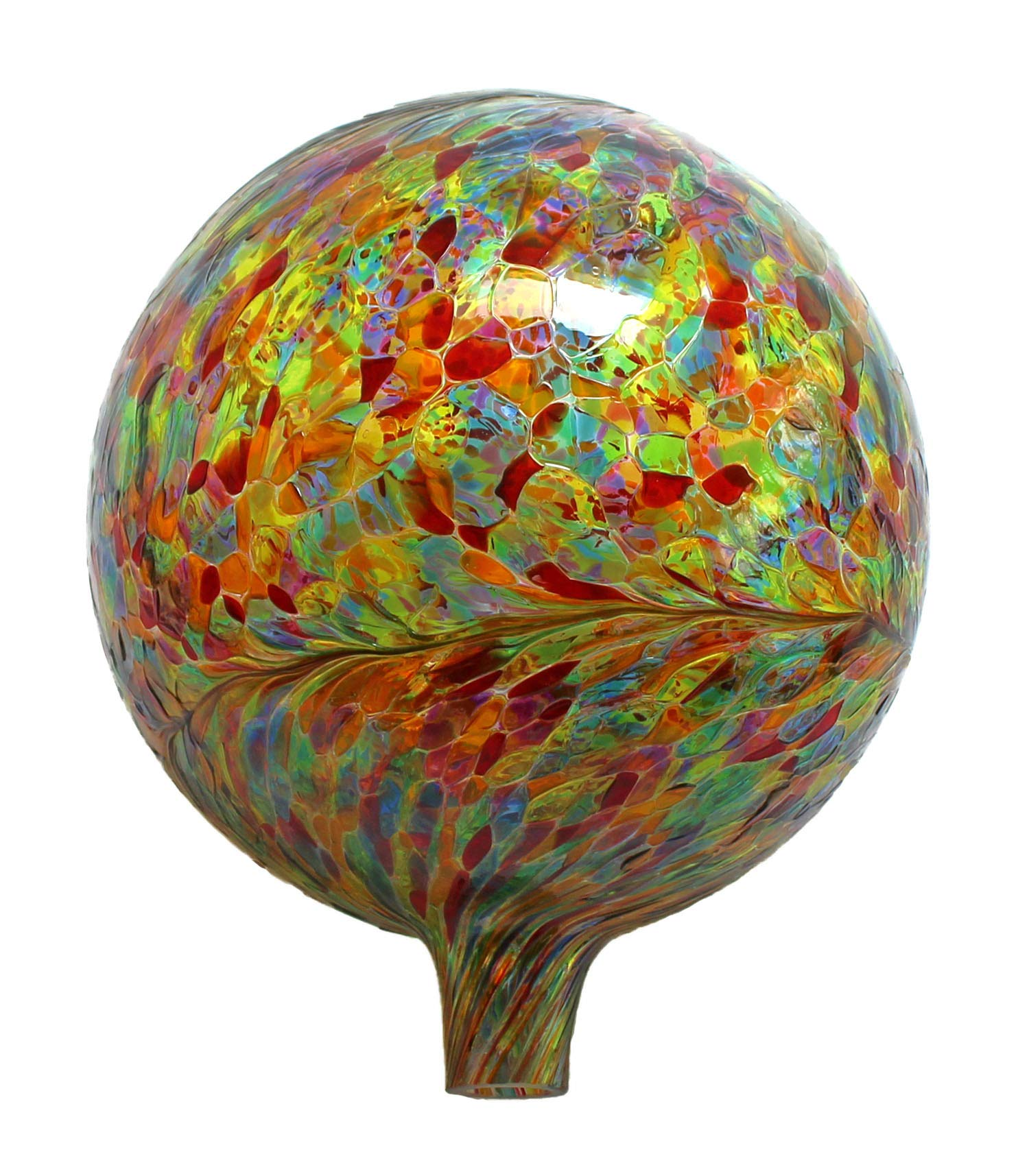 Glass Gazing Ball Transparent Multicolor 12 Inch by Iron Art Glass Designs