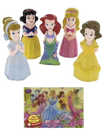 a62a1b912cc Amazon.com  Theme Park Disney Exclusive Princess Squeeze Toys Playset 5 Pc.  Belle Ariel Cinderella Aurora Snow White with Bonus  Toys   Games