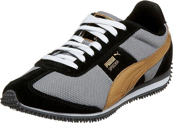 Independientemente Volver a llamar definido  Amazon.com | PUMA Women's Speeder Mesh II Sneaker, Gray/Black/Puma Gold,  5.5 B | Fashion Sneakers