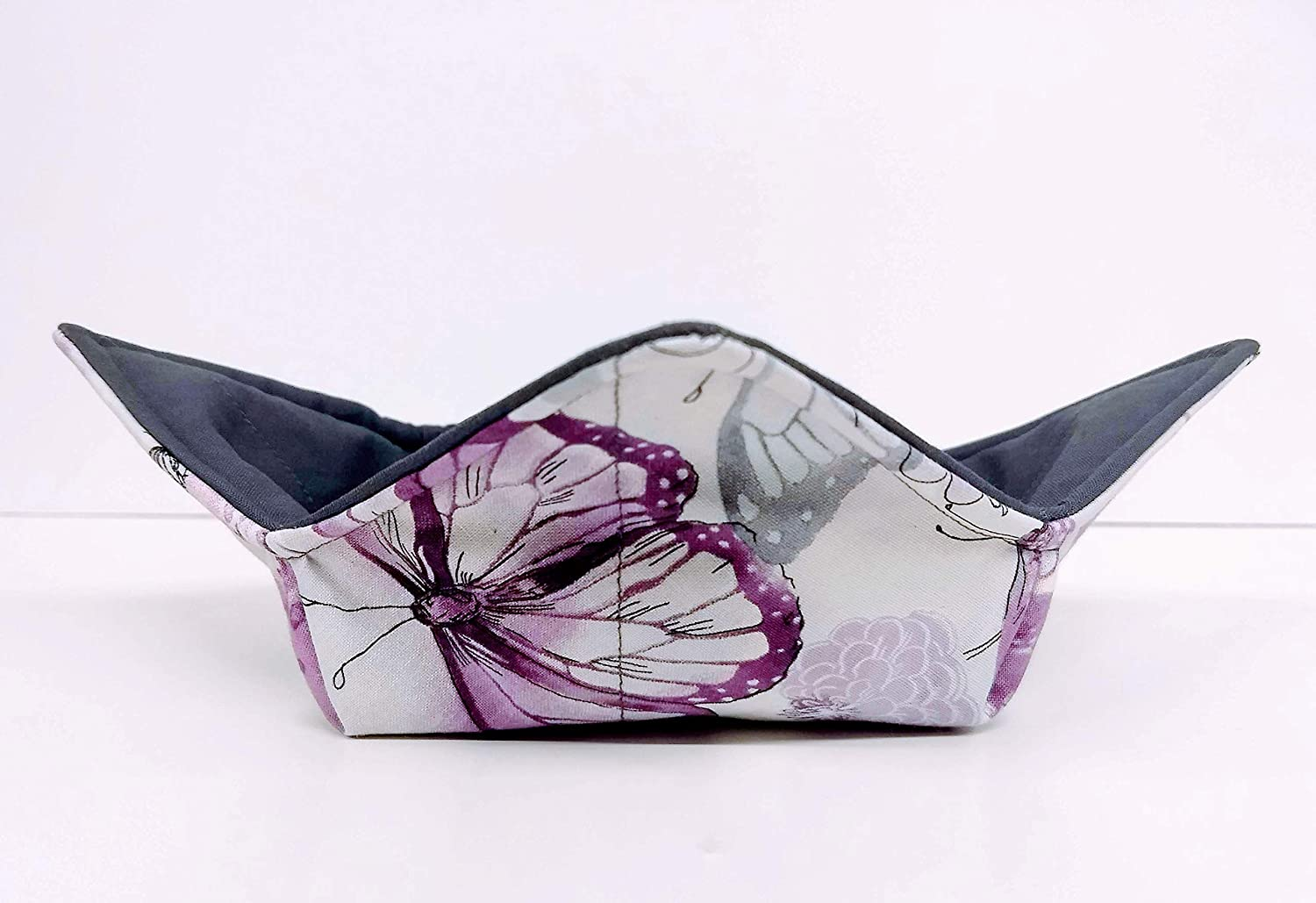 Purple and Dark Gray butterfly quilted cotton reversible microwavable soup bowl holder or cozy