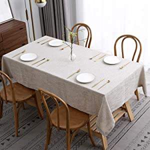 maxmill Flaxy Faux Linen Table Cloth with 2-Tone Slubby Texture Wrinkle Free Anti-Shrink Soft Tablecloth Decorative for Kitchen Dining Tabletop Outdoor and Indoor Use Rectangle 60 x 104 Inch Linen