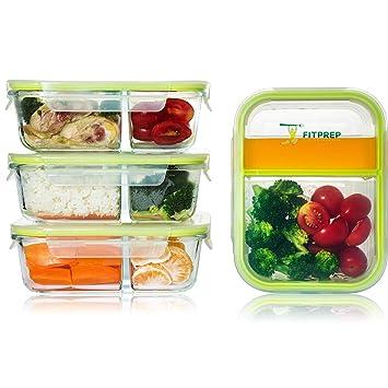 FITPREP® - Premium Glas Frischhaltedosen Set Meal Prep Container, 4 x 1000 ml, Besonderheit -> 2 Dichte und komplett voneinan