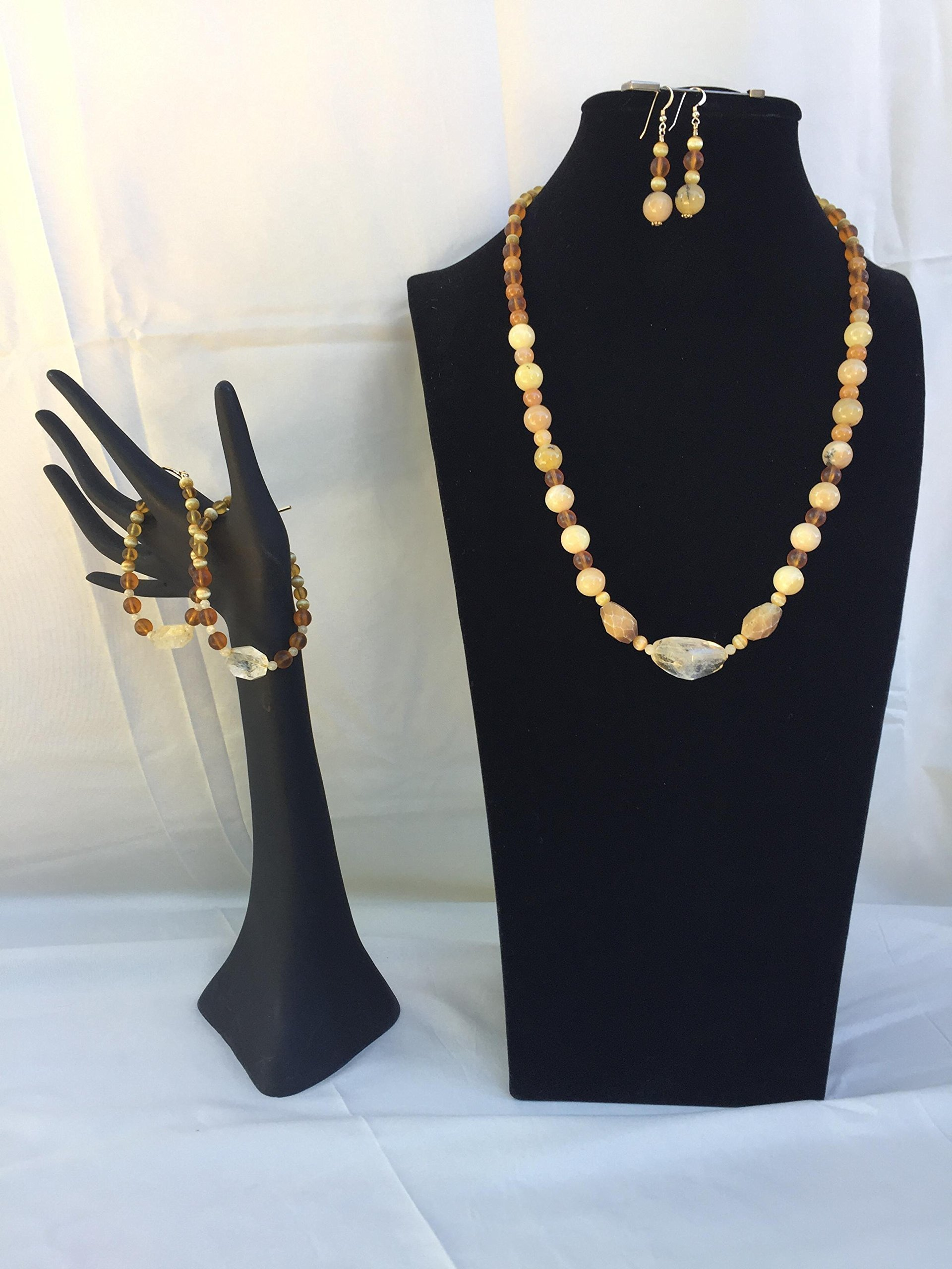 Stunning handmade jewelry set with a necklace, two bracelets and matching dangle earrings. Citrine, Opal and mixed gemstones. One of a kind