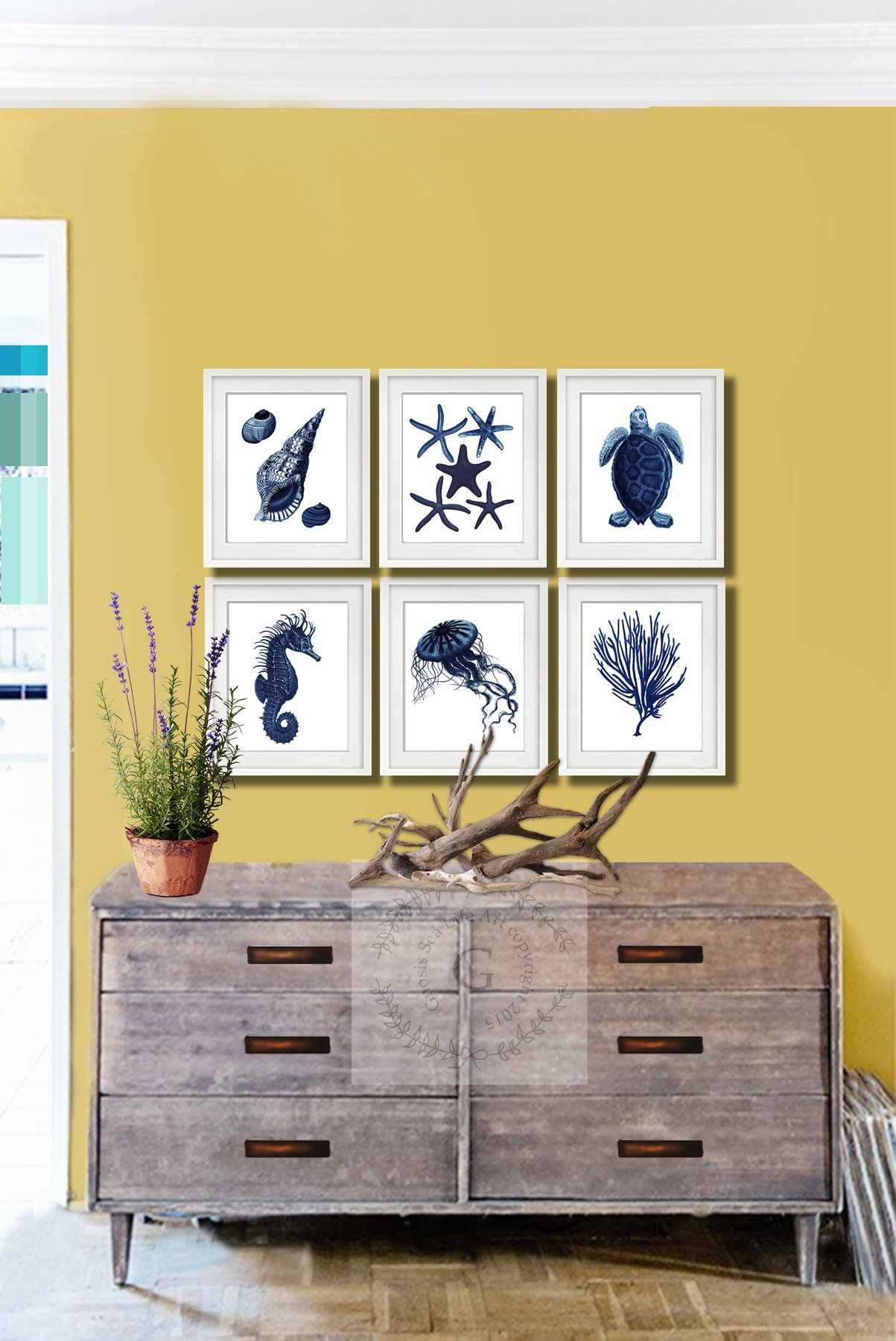 Dark Navy Blue Beach Wall Art Decor Set of 6 Unframed Prints Beach ...