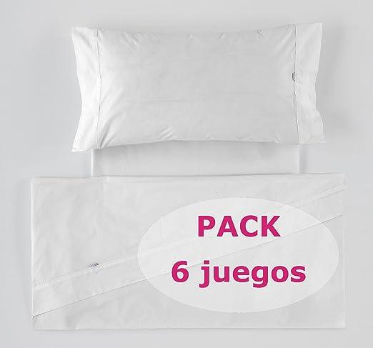 Es-Tela - Pack de 6 Juegos de sábanas Liso Color Blanco (4 Piezas ...