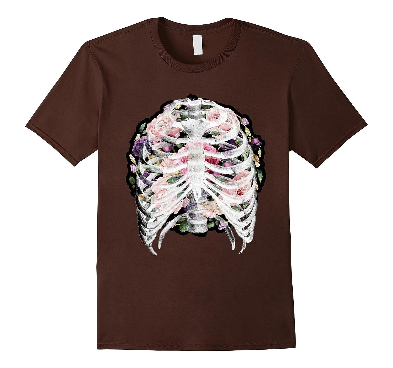 Flower Skull T-Shirt Sugar with Roses for Women Girls Mens-mt