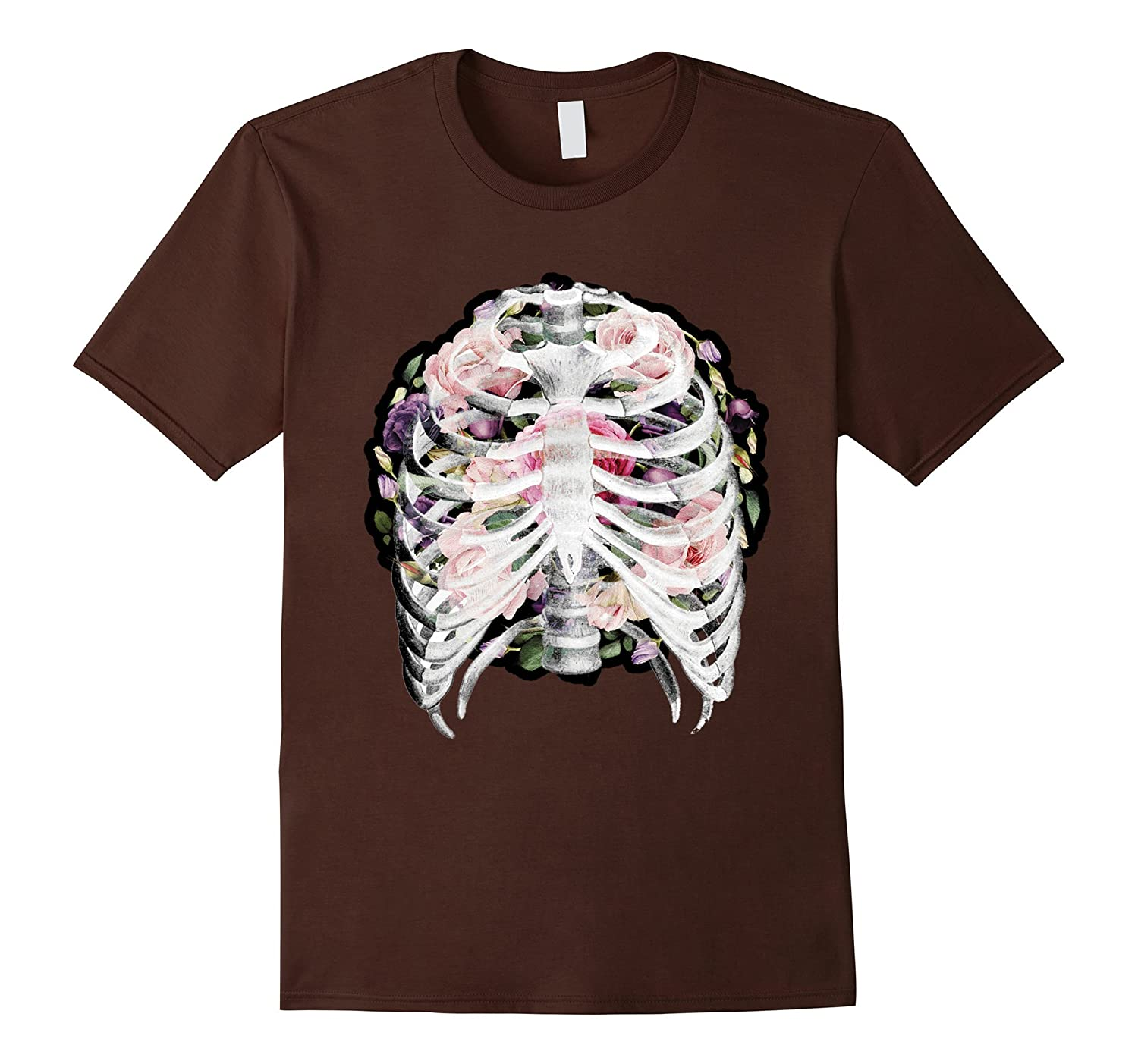 Flower Skull T-Shirt Sugar with Roses for Women Girls Mens-Veotee