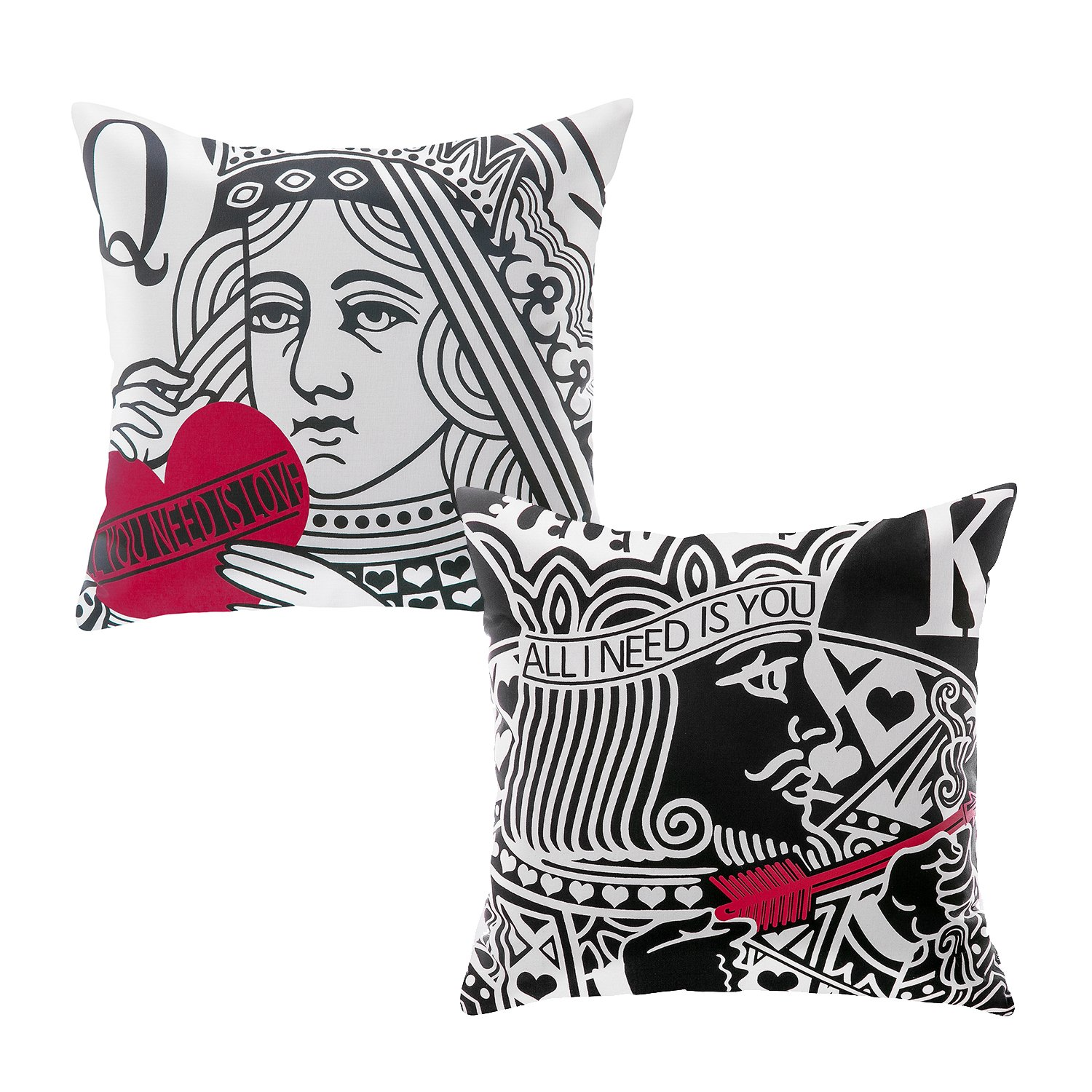 Phantoscope Decorative Valentine's Day Gift Queen and King Couple Throw Pillow Covers Cushion Cover Pillowcase